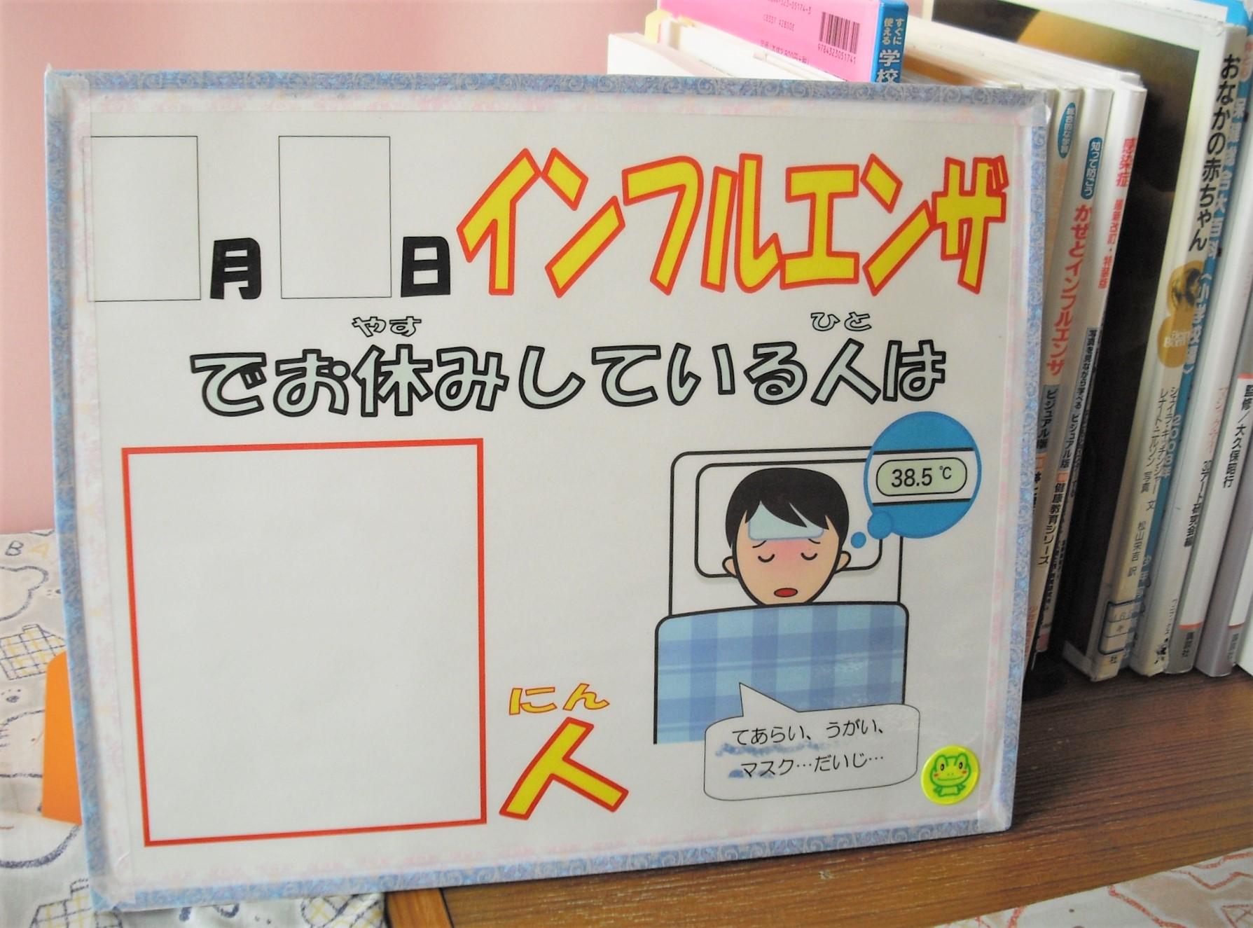 【保健室】インフルエンザの人数を知らせる掲示物